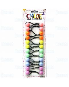 Chloe Ponytail 16 MM Balls - 10 Pieces Assorted Pastel