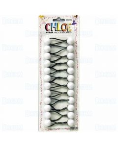 Chloe Ponytail 16 MM Balls - 10 Pieces White