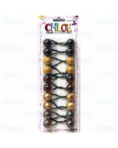 Chloe Ponytail 20 MM Balls - 10 Pieces Assorted Brown